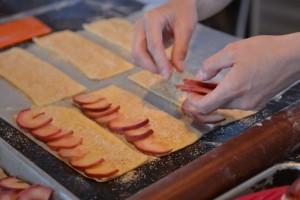Deborah assembling her Apple/Rhubarb Danish