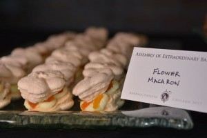 Almond macaroons sandwiched with white chocolate cream (using cornstarch to thicken) and diced apricots