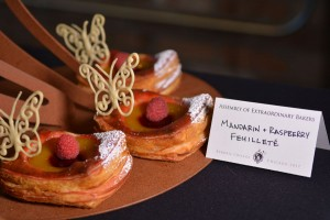 Croissant dough, filled mandarin and raspberry jelly disks